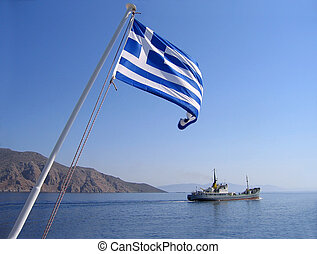 Sea view with greek flag