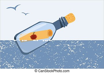 sea., vlotten, fles, vector, kinderen, boodschap, illustration., products., ontwerp