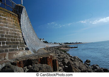 View of sea wall from Mamhead Slipway, Exmouth.