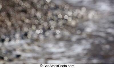 Sea Water and Pebble Beach Abstract Bokeh - Abstract Sea...