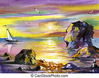 Sea water colour landscape with a sailing boat