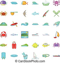 Sea water icons set, cartoon style