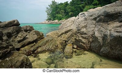 """Sea Water Spills into Tropical Tidepool. - """"Gentle waves..."""