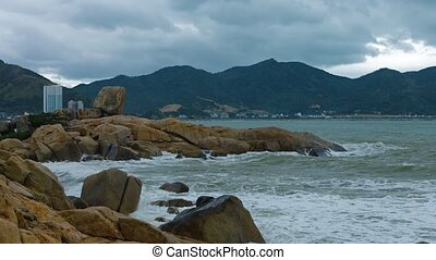 """Sea Water Splashes over Hon Chong Rocks in Nha Trang, Vietnam"""