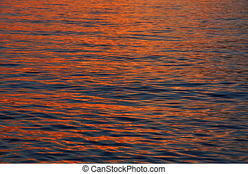 Sea water surface in sunset