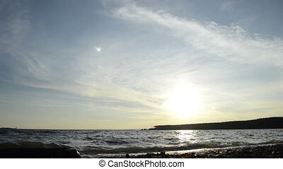 Sea water surface over sunset sky