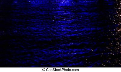 Sea Water Waves Surface at Night