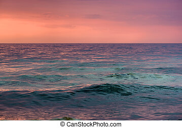 Sea waters at evening