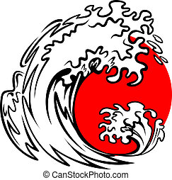 Tsunami wave and red sun on storm sea
