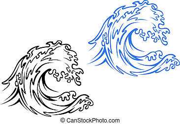 Sea wave - Big sea wave in black and blue variations in...