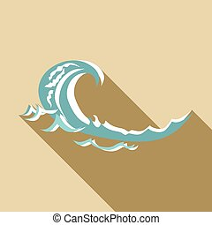 Sea wave icon, flat style