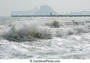 Sea wave on a windy day .