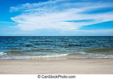 Sea wave on the summer beach.