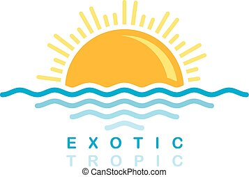 sea wave sunset symbolic theme vector art illustration