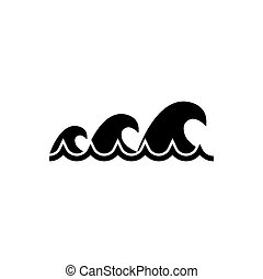 Sea Wave, Tsunami Water Waves Flat Vector Icon - Sea Wave, ...