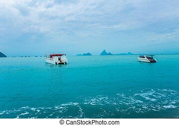 Sea, Wave - Water, Water, Speedboat, Motorboat