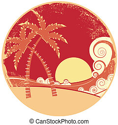 sea waves and island. Vector vintage graphic illustration of...