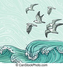 Sea waves background - Waves flowing water sketch sea ocean...