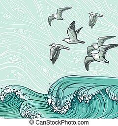 Sea waves background - Waves flowing water sketch sea ocean...