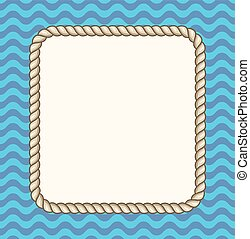 Sea waves background with a rope frame