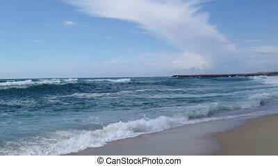 Sea waves - Beautiful beach with ocean sea crashing rolling...