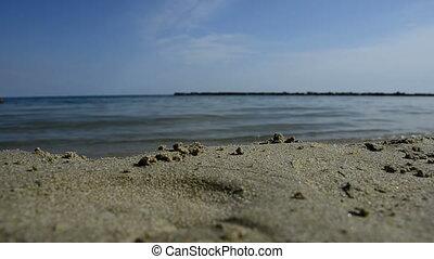 sea waves break on beach