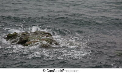 Sea waves breaking on a large rock, overgrown with green...