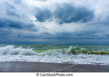 sea waves, cloudy weather, baltic sea, clouds in the sky