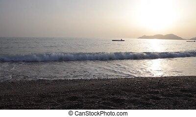 sea waves crashing at the shore