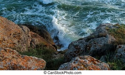 Waves crushing over rocky Shore Above view - Sea Waves...