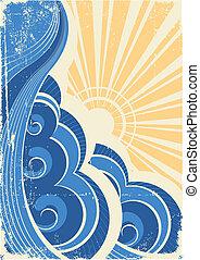 Sea waves. Grunge vector illustration of sea landscape