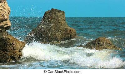 Sea Waves Hitting Rocks. Slow motion.