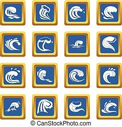 Sea waves icons set blue