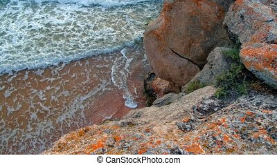 Sea Waves look from Shore Cliff - Sea Waves look from High...
