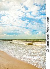 Sea waves near beach in Da Nang city