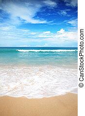 Sea waves on the beach is beautiful skin