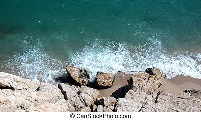 Sea waves on the coast
