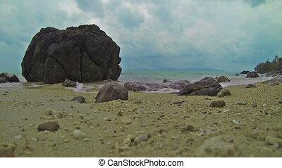 sea waves on the sand beach