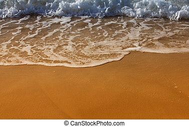 Sea waves on the sandy beach