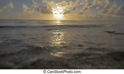 Sea waves on the shore at sunset