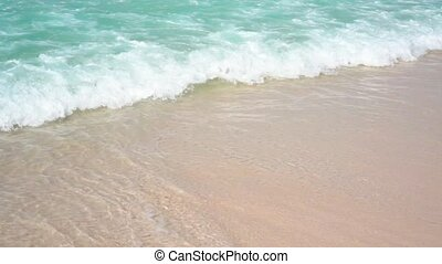Sea Waves over Sand Beach Holiday Background.
