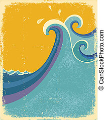 Sea waves poster. Vintage symbol of blue sea waves on old...