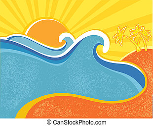 Sea waves poster with palms. Vector illustration of sea landscape in hot summer day