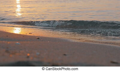 Sea waves rolling on the shore at sunset