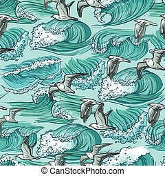 Sea waves seamless pattern
