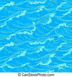 Sea waves seamless pattern.