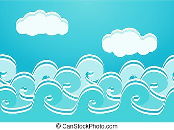 Sea waves seamless pattern, vector illustration