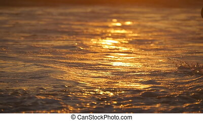Sea waves splashing over female feet walking on shore at sunset. Legs of young woman going along ocean beach during sunrise. Girl stepping in shallow water. Summer vacation. Slow motion Close up
