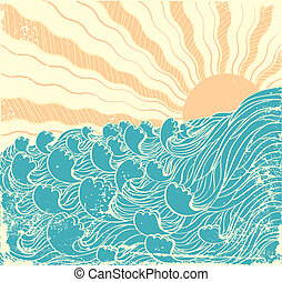 Sea waves. Vector grunge illustration of sea landscapewith sun