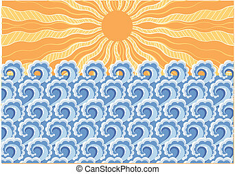 Sea waves. Vector illustration of sea landscape